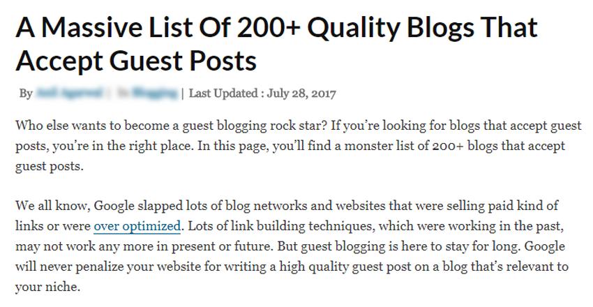 list of sites